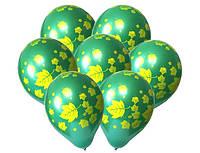 """Шары латексные 12""""(30см) зеленый кристалл  Листья, 5 штампов"""
