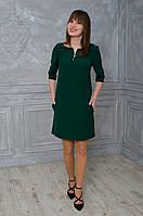 Платье свободного покроя зеленое с замками
