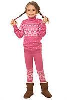 """Вязаный комплект: свитер + гамаши """"Степашка"""" для девочки, цвет светлый клевер"""