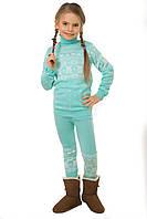"""Вязаный комплект: свитер + гамаши """"Степашка"""" для девочки, цвет бирюза"""