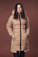 Зимняя женская молодежная куртка. Код К-80-36-17. Цвет бежевый.