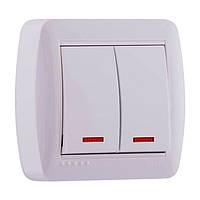 Выключатель двойной наружный с подсветкой Lezard DEMET белый (арт. 711-0200-112)