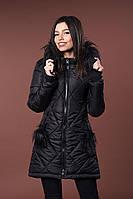 Зимняя женская молодежная куртка. Код К-79-36-17. Цвет черный.