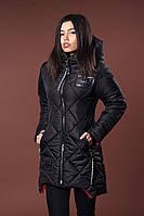 Зимняя женская молодежная куртка. Код К-81-36-17. Цвет черный.