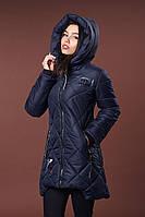 Зимняя женская молодежная куртка. Код К-81-36-17. Цвет темно синий.