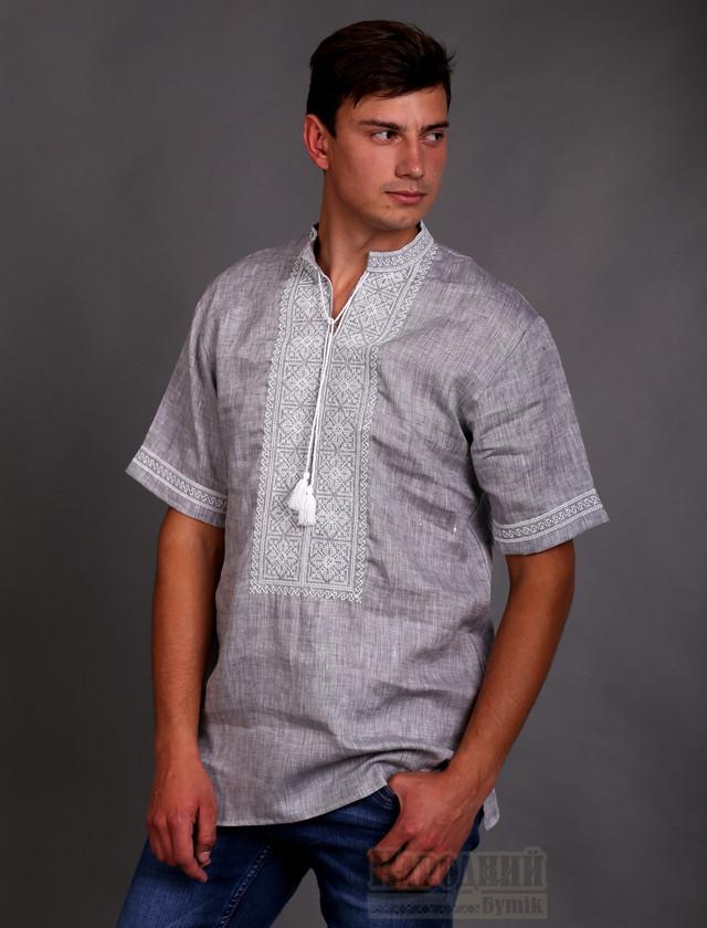 Вышиванка мужская серый лен джинс