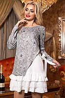 Нарядное Стильное Платье к Любому Мероприятию Серый + Белыйр. 42-50