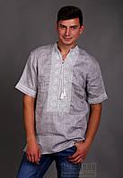 Вышиванка мужская, короткий рукав, однотонная вышивка, фото 1