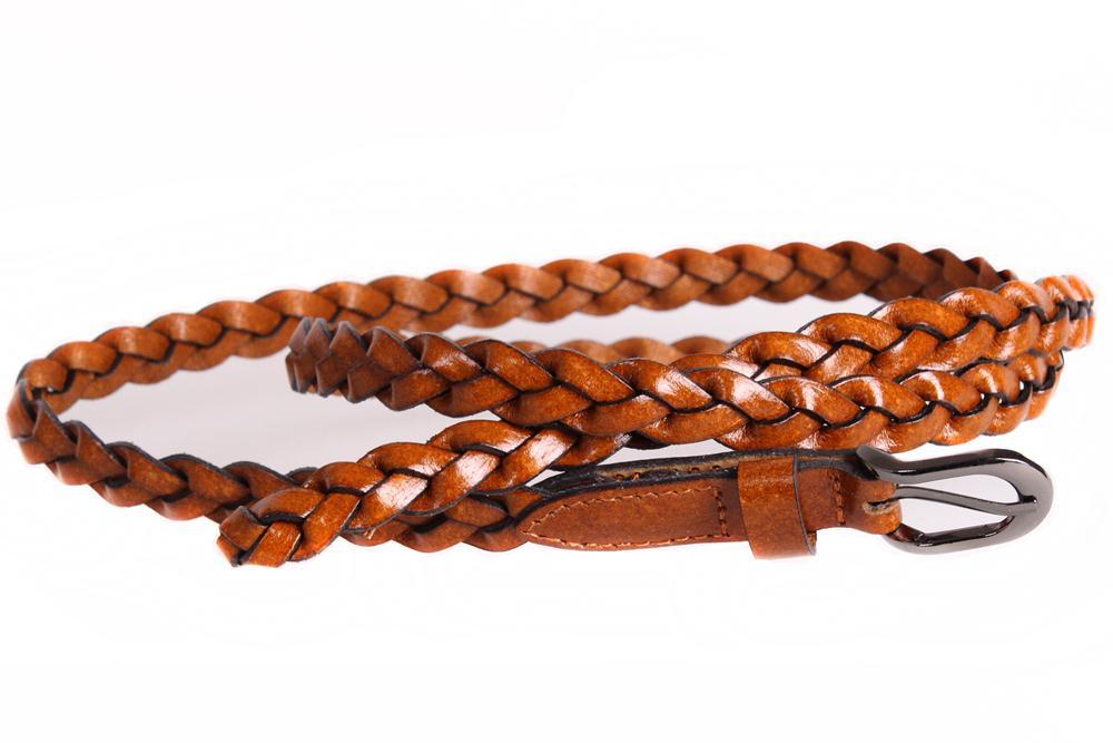 Женский узкий ремень из натуральной кожи кт6707 коричневый