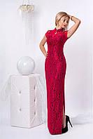 Яркое длинное платье комбинированной ткан