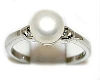 Кольцо под серебро с жемчужиной. Выберите размер.