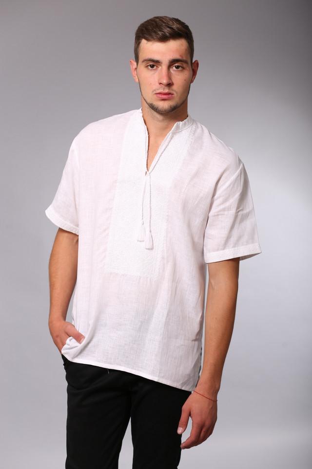 Мужская вышиванка белым по белому