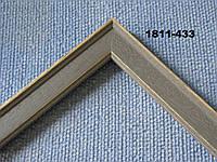 Деревянный багет узкий для картин, серый с золотыми прожилками