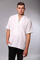 Вышиванка мужская. Белым по белому, короткий рукав, фото 1