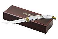 Подарочный складной нож элитный, рукоять натуральная перламутровая ракушка, мрамор, подарок для мужчины