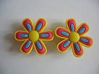 Джибитсы (Jibbitz) цветок жёлт/роз\гол