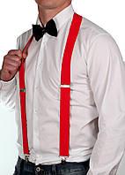Мужские подтяжки красные 3.5 см, фото 1
