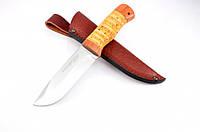 Нож охотничий из рукояти Береста с кожаным чехлом + эксклюзивные фото