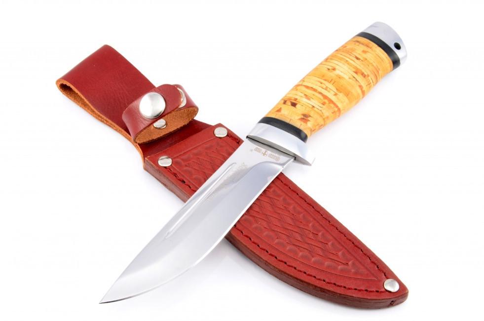 Нож охотничий  Дичь с рукоятью из бересты с кожаным чехлом  + эксклюзивные фото