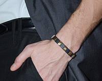Серебряный браслет с каучуком,с пластинами золота