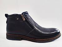 Зимние кожаные мужские стильные комфортные классические темно-синие ботинки, натуральная шерсть 41 Veber
