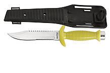 Нож для дайвинга Пиранья, со стропорезом и резиновым чехлом и ремнями для крепления на тело