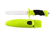 Нож для дайвинга Кайман, со стропорезом и пластиковым чехлом с ремнями для крепления на тело