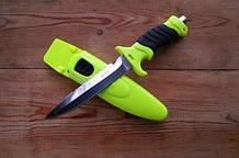 Нож для дайвинга Скат, со стропорезом и пластиковым чехлом с ремнями для крепления на тело