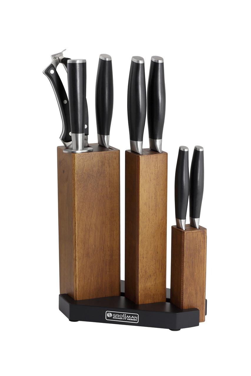 Элитный кухонный  набор из 7 профессиональных ножей + подставка, Немецкого производства Grossman,