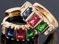 Серьги с позолотой, цветные камни 142_4_295а3