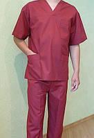 Костюм хирургический бордового цвета, ткань сорочка