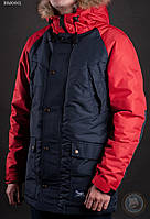 Зимняя куртка (парка) Staff - Cold dark blue and red Art. BRS0001 (тёмно-синий \ красный)
