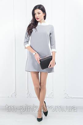 """Сукня з білою стійкою """"Soft"""" сіра"""