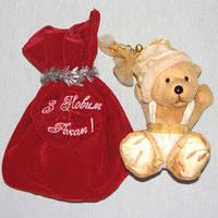 Новогодний подарочный набор - игрушка с мешочком для сладостей от Деда Мороза