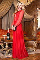 Вечернее Платье в Пол  с Шифоновыми Рукавами Красное  р. 42 по 48