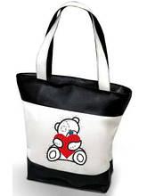 """Женская сумка -  """"МИШКА TEDDY""""(комбинированные ткани) К12 черно-белая"""