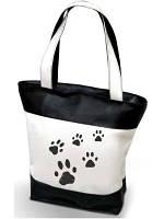 """Женская сумка -  """"Лапки"""" (комбинированные ткани) К10 черно-белая"""