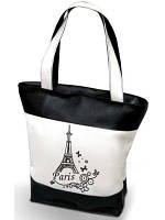 """Женская сумка -  """"Париж"""" К21(комбинированные ткани) - черно-белая"""