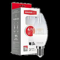LED лампа MAXUS C37 CL-C 4W 4100K 220V E14 (1-LED-5314)