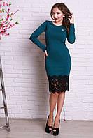Модное бирюзовое платье с длинным рукавом