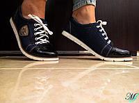 Женские кроссовки со вставками джинса и искусственного лака