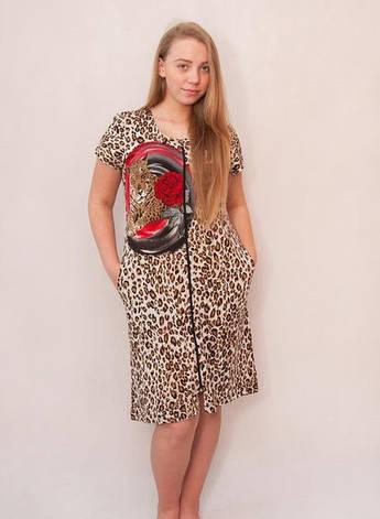 Женский летний халат Леопард с розой, фото 2
