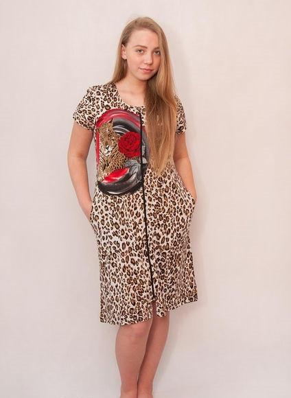Женский летний халат Леопард с розой