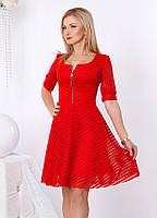 Женское коктейльное платье красного цвета с пышной юбкой из гипюра. Модель 958 SL.