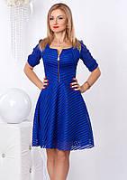 Женское коктейльное платье синего цвета из гипюра. Модель 958 SL.