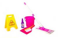 Набор для уборки 979-34 (72шт) ведро,совок,щетка,швабра,моющее, знак, в кульке, 25,5-35-14 см