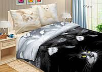 Ткань для постельного поплин Ласка Кошки