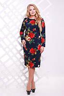 Женское Нарядное Платье с розами темно-синее  ИРМА (54-60)