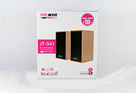 ЮСБ колонки для ноутбука Jt-041 активные, 2х3,0 Вт, 90Гц-20 кГц, регулятор громкости, дерево, 140х90х65 мм