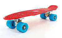 Пенни Борд Красный 22″ Голубые Колеса / пенниборд скейт (penny board), скейтборд